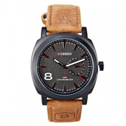 Curren Leather Band Watch For Men, 8139 Black Dial