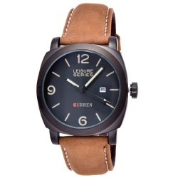 Curren Genuine Leather Band Watch For Men, M8158, Black Brown