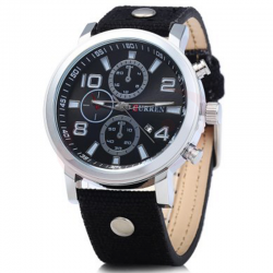 Curren Leather Band Watch For Men, 8199, Black