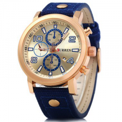 Curren Leather Band Watch For Men, 8199, Blue
