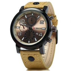 Curren Leather Band Watch For Men, 8199, Brown