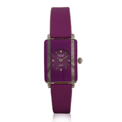 Omax Genuine Leather Band Watch For Women, CE0006, Violet
