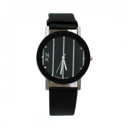 NK Fashion Leather  Watch, NK664M, Black & White