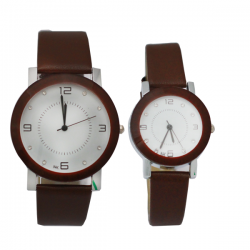NK Fashion Leather Pair Watch, NK664M, Brown