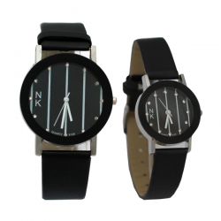 NK Fashion Leather Pair Watch, NK664M, Black & White