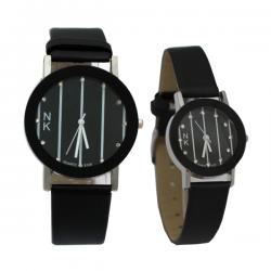 NK Fashion Leather Pair Watch, NK664M, Black & White