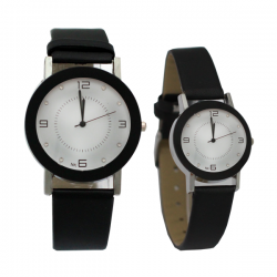 NK Fashion Leather Pair Watch, NK664M, White & Black