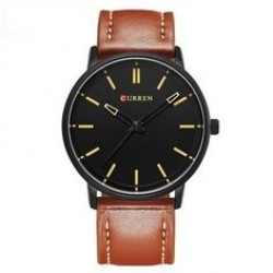 Curren Sports Leather Fashion Watch For Men, M8233, Black Brown