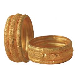 Nilano 22K Gold Plated 6 Pcs Handmade Bangles Set, DC235