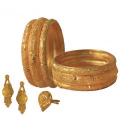 Nilano 22K Gold Plated 6 Pcs Handmade Bangles Set, With Earrings, Finger Ring For Women DC235