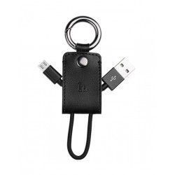 Hoco UPM19 Leather Key Chain Micro USB Charging Cable For Android Devices, Brown
