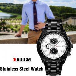 Curren Stainless Steel Watch For Men,8023,Black White
