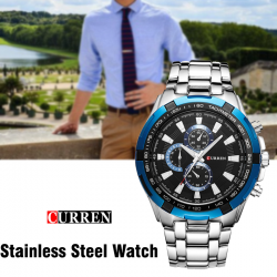 Curren Stainless Steel Watch For Men,8023,Silver blue