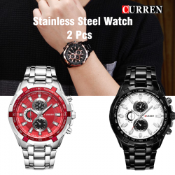 2 Pcs Curren Stainless Steel Watch For Men,8023,Silver blue
