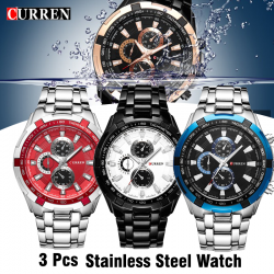 3 Pcs Curren Stainless Steel Watch For Men,8023,Silver red