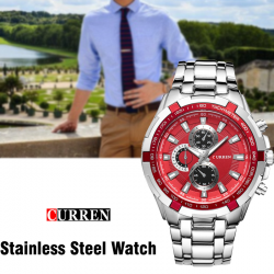 Curren Stainless Steel Watch For Men,8023,Silver red