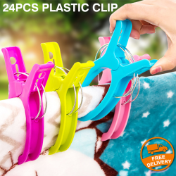 24Pcs Plastic Clothes Dry Laundry Large Grip Washing Line Pegs Clip, G058