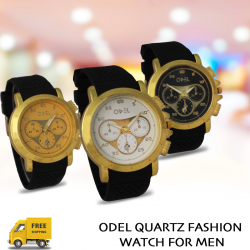 3 Pcs Odel quartz Fashion Watch For Men, DC998, Black Dial, Gold Dial, White Dial