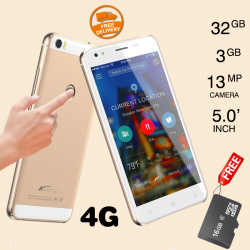 Astarry Sun3, Fingerprint SmartPhone, 4G/LTE, 32GB, Dual Camera, Blue  With 16GB Micro SD Memory Card Free