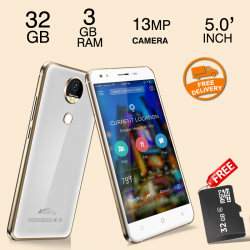 Astarry Sun4, Fingerprint SmartPhone, 4G/LTE, 32GB, Dual Camera, White With 16GB Micro SD Memory Card Free
