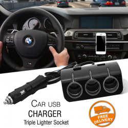 Car USB Charger with Triple Lighter Socket, CR852
