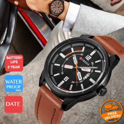 Curren Leather Band Watch For Men, 8211