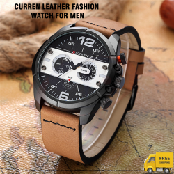 Curren Sports Leather Fashion Watch For Men, 8259