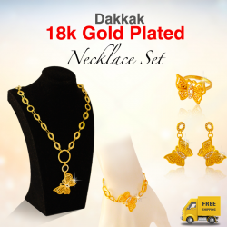 Dakkak Fashion 18K Gold Plated Butterfly Design Long Necklace Set, DK07