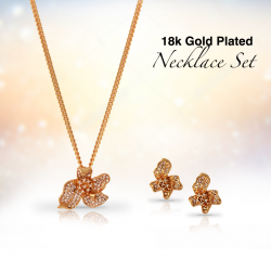 Dakkak Fashion 18K Gold Plated Zircon Flower Pendent Set, DK016
