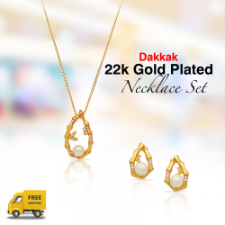 Dakkak Fashion 22K Gold Plated Wooden Style Lulu With Zircon Pendent Set, DK011