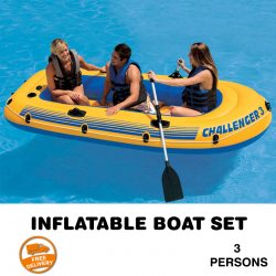 Intex Explorer 300, 3,Person Inflatable Boat Set With High Output Manual Air Pump, IX01