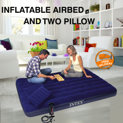 Intex Inflatable Airbed And High Output Air Pump With Inflatable Two Pillow, 68765NP