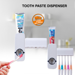 Automatic Toothpaste Dispenser 5 Toothbrush Holder Stand Set Wall Mount Rack, TM2000