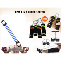 Limited GYM 4 In 1 Bundle Offer, Jocrex Gym Exercise Chest Expander Pull Fitness, Liveup Hand Grips Fitness Stainless Steel Spring, Tummy Trimmer Contoured Foot Padals, GM125