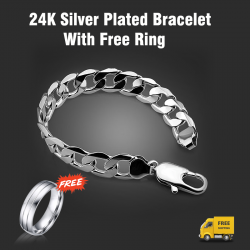 Sana 24K Silver Plated Long Bracelet, With Free Ring, SN124