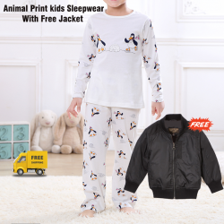 Gold Star Spring Autumn Kids Girls Boys Animal Print Sleepwear Long Sleeve With Free Jacket, SL452