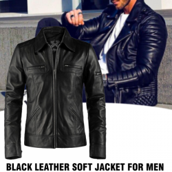 Pailiou Black Leather Soft Jacket For Men, PB12
