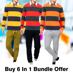 Buy 6 In 1 Bundle Offer, Lencer Men's Fashion Full Sleeves 3 Pice T-Shirt, Universl T1,4Pcs Set Assorted Color Tracksuit, LR859