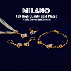 Milano 18K High Quality Gold Plated Cubic Zircons Necklace Set, MA79