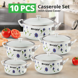 Olympia 10 Pcs Casserole Set With Glass Cover, OE004
