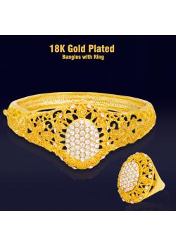 Meena 18K Gold Plated Bangles with Ring MGP01