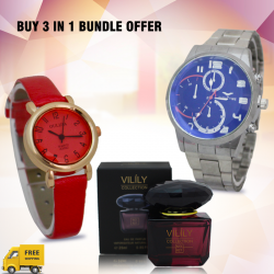 Buy 3 In 1 Bundle Offer, Eagle Time High Quality Stainless Steel Band Watch For Men, Oulijia Fashion Watch For Women, Vilily Collection Beauty Encounter Eau De Natural Spray For Women, V821