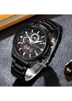 Curren Stylish Chrono Design Stainless Steel Watch For Men, 8275, Black