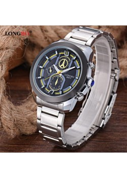 Longbo Trendy Design Stainless Steel Watch For Men, 80011