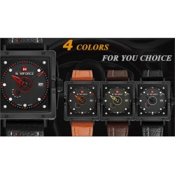 Naviforce Luxury Brand Date Japan Movt Square Men Quartz Casual Watch Army Military Sports Watch, 9065