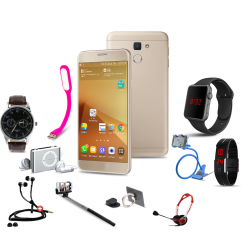 Lucky 11 In 1 Bundle Offer, H-mobile J5 Prime, Portable USB LED Lamp, Zipper Stereo Wired Earphones, Ring Holder, Headphone, Mobile holder, Macra watch, Yazol watch, Selfie stick, Mp3 player, Led band watch