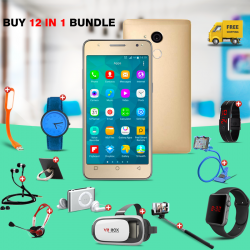 12 IN 1 BUNDLE OFFER KAGOO S11 SMARTPHONE, VR-BOX, MOBILE HOLDER, RING HOLDER, ZIPPER HEADSET, BAND WATCH, MP3 PLAYER, MACRA WATCH, YAZOLE BUSINESS WATCH, NORMAL HEADSET, SELFIE MONOPOD, USB LIGHT