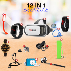 MOBILE ACCESSORIES 12 IN 1 BUNDLE OFFER  RING MOBILE HOLDER, TABLE MOBILE HOLDER, MOBILE CLIP LENS, VR-BOX, MP3 PLAYER, SELFIE MONOPOD, SMART LED BAND, POWERBANK, MACRA DIGITAL WATCH, USB LED LIGHT, YAZOLEWATCH 311, ZIPPER HEADSET