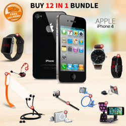 High-Class 12 In 1 Bundle Offer, Apple iPhone 4 16GB, Universal Rotating Phone Plate Holder, Portable USB LED Lamp, Zipper Stereo Wired Earphones, Ring Holder, Headphone, Mobile holder, Macra watch, Yazol watch, Selfie stick, Mp3 player, Led band watch