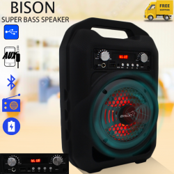 Bison Super Bass Speaker, USB/SD/FM/Bluetooth /Radio/LED/AUX  BS-12